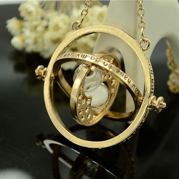 Harry Potter Time Turner Necklace Hermione Granger Rotating Spins Gold Hourglass (Size: 18 in, Color: Gold) (With Thanksgiving&Christmas Gift Box)