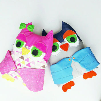 Owl pillow - owl decor - owl plush -kids pillow - pocket pillow - animal pillow - woodland pillow - stuffed owl - owl cushion - owl toy