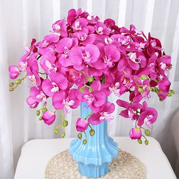 2pcs Real Touch Feel Orchid Artificial Flower Phalaenopsis Bouquets Wedding Bridal Home Decorative Fake Flowers 6 Color