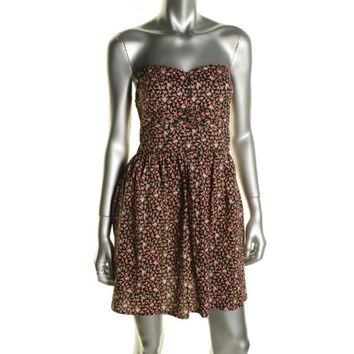 Be Bop Womens Juniors Floral Print Strapless Casual Dress