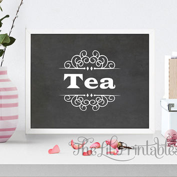 Tea Chalk Background Printable, Tea typography Printable, Kitchen Printable, Kitchen Print, Kitchen Art, Tea Decor Print
