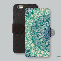 iPhone 6 case Leather Wallet iPhone 6 plus case, Wallet cover iPhone 5s case mandala iPhone 5c case Galaxy s4 s5 Note 4  - C00119