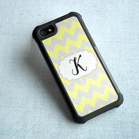 Yellow and Gray Metallic Chevron Custom Hybrid iPhone Case Personalized With Your Initial or Monogram