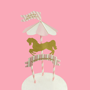 Baby Shower Horse Cake Cupcake Topper Glitter Carousel Picks Birthday Cake Topper Flags Cake Topper Party Decoration