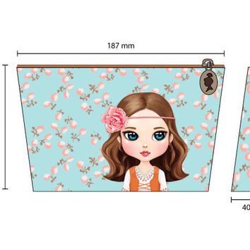 Rollercoaster Little girl coloring pouch ver.2 - hippie