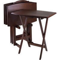 TV Dining Tray Table Oversized Plus Storage Stand Antique Walnut (Set of 4)
