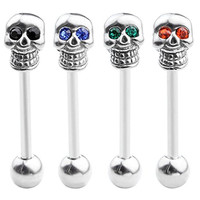 JOVIVI® 2pc 14G Cubic Zircon Crystals Eyes Surgical Steel Skull Tongue Bar Barbell Ring 5/8''