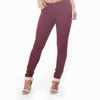 Classic Skinny Pants In Burgundy