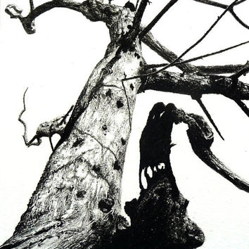 Tree drawing charcoal original gothic by ggsarts on Etsy
