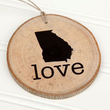 Georgia Love state shape Maple wood slice ornaments - Set of 4.  Wedding favor, Bridal Shower, Country Chic, Rustic, Valentine Gift