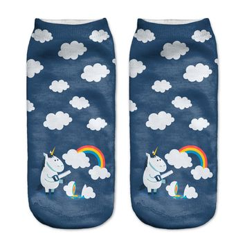 Unicorn Cutting Open Rainbow Clouds Ankle Socks