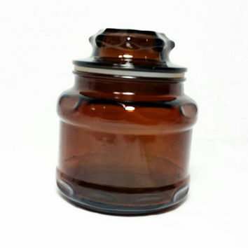 Vintage Amber Glass Apothecary Jar/Brown Glass Starburst Lid Jar/Kitchen Spice Container/Bath and Body Storage