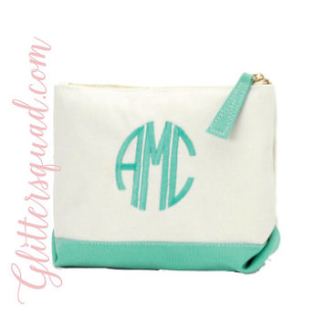 Mint Monogrammed Canvas Cosmetic Bags / Small Canvas zipper bag /  Brides Maid Cosmetic bags / Cosmetic bag / Heavy Canvas Cosmetic bag