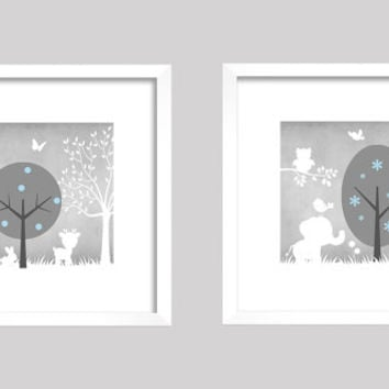 Gray Baby Blue White Enchanted Forest Animals, CUSTOMIZE YOUR COLORS, 8x10 Prints, set of 2, nursery decor nursery print art baby room decor