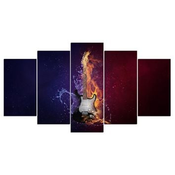 5 Piece Canvas Art Guitar In Fire for Guitarist Panel Wall Art Wall Picture for