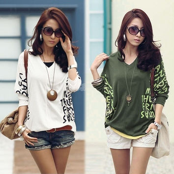 Women Autumn V-Neck Batwing T-Shirts Dolman Long Sleeve Letter Print Tops Plus Size T-Shirts  3428 = 1946232644