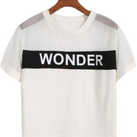 White Short Sleeve Sheer Mesh WONDER Graphic Printed Crop Top
