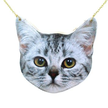 Realistic Tabby Kitty Cat Head Shaped Vinyl Animal Themed Cross Shoulder Bag for Cat Lovers