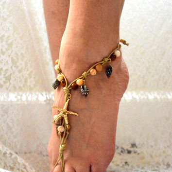 Gypsy shell ankle bracelet, Sea Shell Anklet, Bohemian festival jewelry, Hippie boho beach jewelry, Coachella Anklet, True rebel clothing