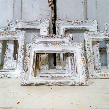 Shabby chic white frames grouping vintage ornate distressed French farm house home wedding decor anita spero