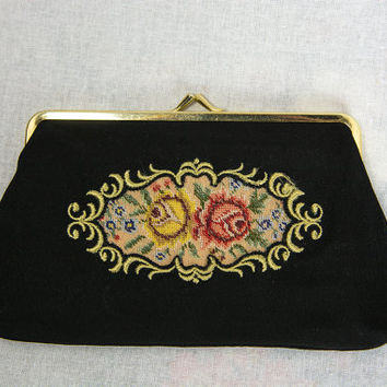 Vintage Black Clutch Purse Needlepoint Flower Print Petit Point