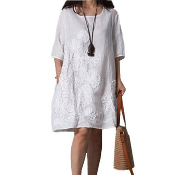 Cotton Linen Dress Women Bohemian  Summer New Fashion Costume Embroidery Dress Round Neck Middle Sleeves Loose Plus Size