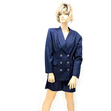 Linen suit / size S / 3 / 5 / vintage 80s high waisted linen shorts suit / NWT / navy blue linen blazer suit / Judy Knapp USA