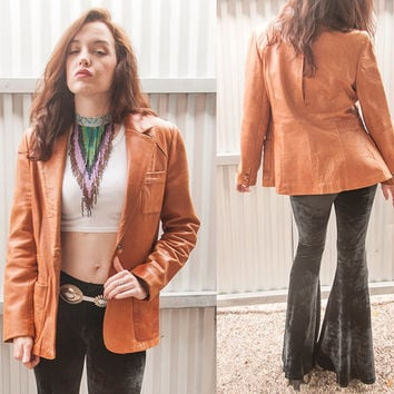 Vintage Caramel Genuine Leather Blazer Jacket | Womens M Medium Large L or Mens Small | Super Soft Camel Brown Leather by Wilsons 70s 80s