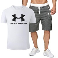 Under Armour Summer Hot Sale Men Print T-Shirt Top Shorts Sport Set Two-Piece White