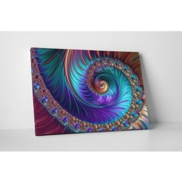 'Peacock-esk Spiral' Gallery-wrapped Abstract Canvas Wall Art - Free Shipping Today - Overstock.com - 18806888 - Mobile