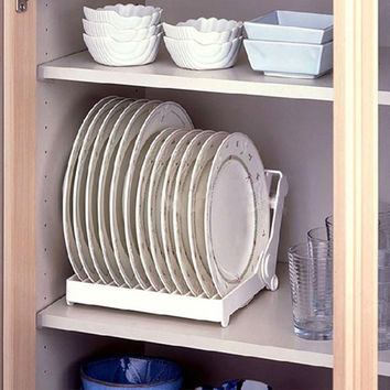 Foldable Dish Plate Drying Rack Organizer Drainer Plastic Storage Holder White Kitchen Organizer Hot sale