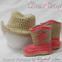 Cowboy Hat Boots Crochet Patterns. Includes patterns for Boot Scoot'n Boots and Boot Scoot'n Cowboy Hat digital