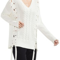 Vince Camuto Lace-Up Cable Sweater   Nordstrom