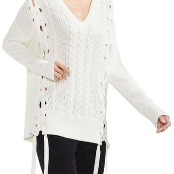 Vince Camuto Lace-Up Cable Sweater | Nordstrom