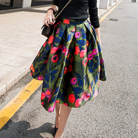 Red Printed A-line Pleated Midi Skirt