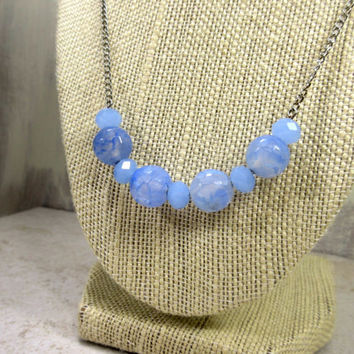 Periwinkle  Agate Necklce, Periwinkle Agate Beads, Periwinkle Glass Accent Beads, Gemstone Necklace