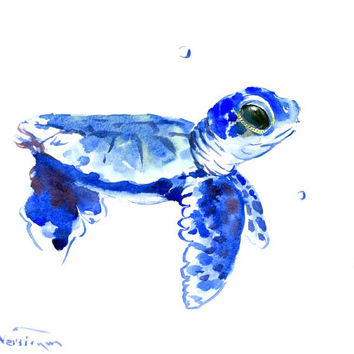 Baby Sea Turtle original watercolor painting 10 X 8 in blue sea turlte wall art nursery painting children room beach art sea wrodl