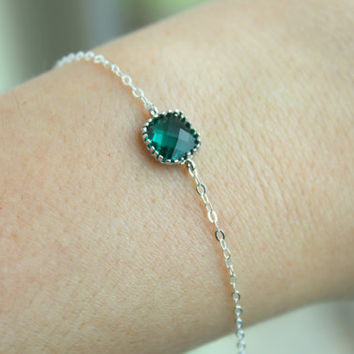 Dainty Emerald Green Bracelet Silver Square Hunter Green Bracelet Jade Bridesmaid Bracelet - Bridal Bracelet Emerald Wedding Gift Under 20