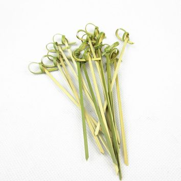 XUNZHE 100pcs 12cm tie knot Bamboo Food Picks fruit fork Sticks Buffet Cupcake Toppers Cocktail forks Wedding Festival Decorati
