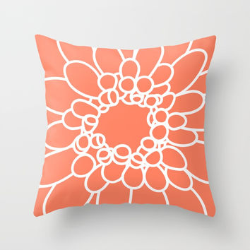 Coral Chrysanth Throw Pillow by bitart