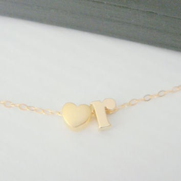 Lowercase Initial Necklace, Alphabet Letter Charm Necklace, Customed Name necklace, Heart Necklace, Personalized Name Necklace, Letter Charm