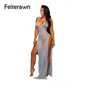 ICIKW8 Feiterawn 2017 Women Swimwear Bikini Cover Up Sexy Gold Sliver Sleeveless V Neck Tank High Split Long Beach Dress MN8078