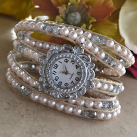 Silver Crystal and Pink Pearl Wrap Watch