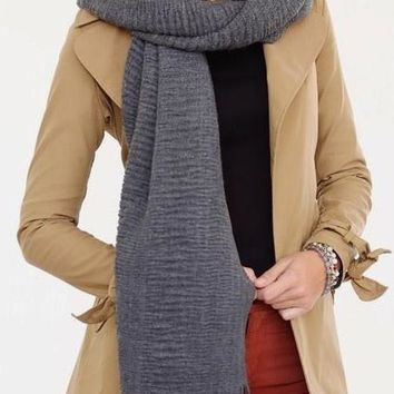 Solid Textured Long Scarf with Fringe