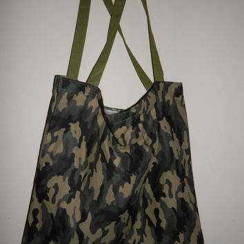 TOTEBAG IN-A POUCH Cotton Camo Purses Shopping Bags