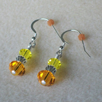 November Birthstone Earrings with Both Citrine and Topaz Swarovski Crystal and Sterling Silver