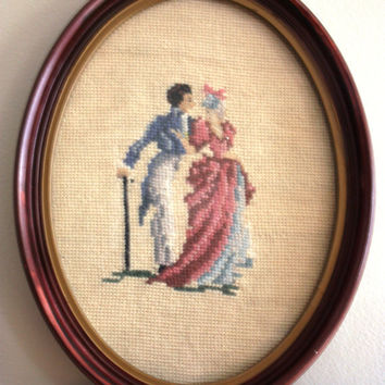 Vintage Handmade Needlepoint in a Oval Frame