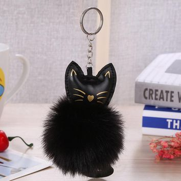 KEYCHAIN FLUFFY BALL POMPOM CAT ANIMAL TAIL ARTIFICIAL RABBIT FUR.