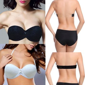 Women Strapless Multiway Sexy Floral Lace Underwear 1/2 Cup Push Up Padded Bra Invisible Clear Back Strap Bras Cup Size A B C D