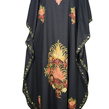 Womens Kaftan Dresses Kimono Dresses Alessia Embroidered Maxi Long Beach Cover up One Size